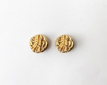 1970s Gold Brass St John Abstract Clip On Earrings