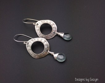 Lightweight Dangle earrings, silver earrings, AAA+ aquamarine, moss aquamarine, wire wrapped, designs by suzyn