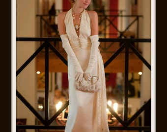 1930s Wedding Dress/1930 Art Deco / Ivory Champagne Lace Halter and Satin Gown