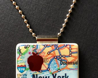New York city map pendant, New York map jewelry, handmade map pendant, Big Apple jewelry, recycled mahjong tile jewelry,ball chain