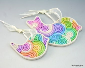 Mother and Baby Bird Ornament Set in Rainbow Pastel Fimo Filigree