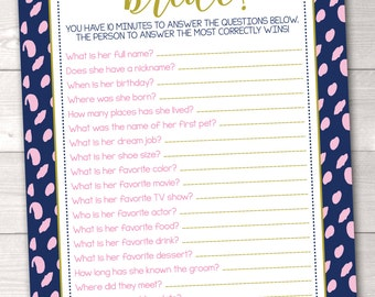 How Well Do You Know The Bride Instant Download Bridal Shower Game Printable PDF
