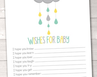 Printable Baby Wishes Card Shower Cloud Gender Neutral Baby Shower Game Design INSTANT Download
