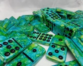 Mother Earth-- Earth Day, Hand Painted 55 Piece Double Nine Standard Size Domino Set w/ Black Storage Case, alcohol inks, toys and games
