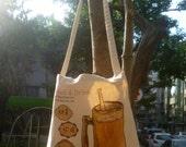 Wheat Germ Pearl Milk Tea -  Dual Purpose Tote Bag / Hand Bag / Shoulder Bag