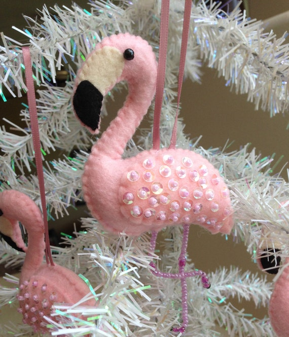 pink felt flamingo christmas ornament beaded legs sequined