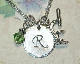Microscope Necklace -  Microscope Hand Stamped Sterling Silver Initial Charm Necklace - Personalized Microscope Necklace - Science Jewelry