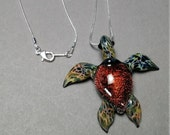 Red Orange Sea Turtle focal bead blown glass jewelry pendant