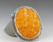 RESERVED Spiny Oyster Turquoise Ring, made to order, orange and silver, sterling silver, boho, bohemian, custom ring, turquoise and orange