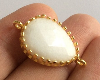 1pc- Matte Gold Plated  White Jade,  Tear Drop Connector- 32x12mm (025-038GP)