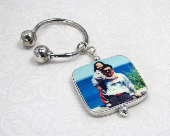 Photo Charm on a Sterling Silver Horseshoe Key Ring - P1Ra