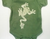6M Ready to Ship Avocado Green Batik Frog One Piece, Tree Frog Baby Gift, Froggy Baby Outfit, Frog Baby Clothes, Original Batik Image