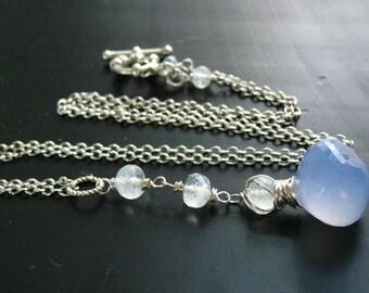 Chalcedony and Moonstone Pendant-Y Necklace-Gemstone Pendant