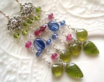 Gemstone Tassel Earrings - Delphinium Colors
