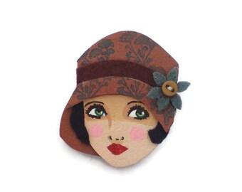 1920's Girl Fabric Brooch, Felt Brooch, Art Brooch, Wearable Art Jewelry, Mother's Day Gift