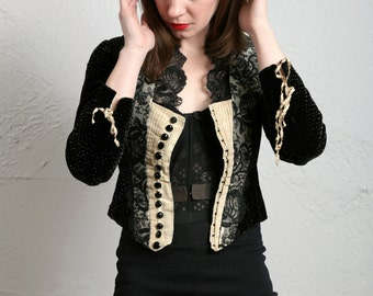 SALE- Antique Victorian Top . Lace & Velvet . 1800s