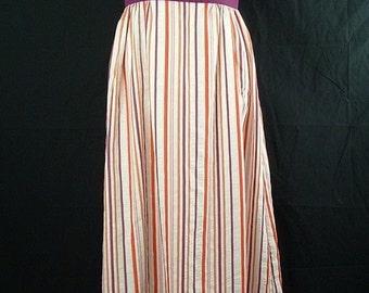 Vintage 70s Dress Halter Maxi Stripes XS