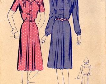 1940s Butterick 2519 Vintage Sewing Pattern Misses Shirtwaist Dress Size 12 Bust 30