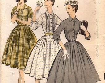 1950s Advance 8057 Vintage Sewing Pattern Misses Shirtwaist Dress Size 12 Bust 32