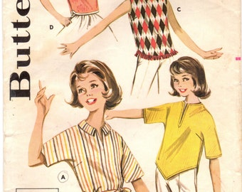 1960s Butterick 9800 Vintage Sewing Pattern Subteen Casual Blouse or Top, Sleeveless Blouse, Pullover Blouse Size 14S Bust 33