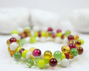 Murano Glass Jewelry // Pink Green White // Murano Glass // Stretch Bracelet