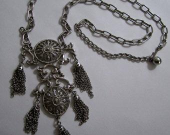 vintage 1960s silver tone super mod FRINGE chandelier necklace boho STATEMENT dangle articulated drop adjustable bohemian mid CENTURY modern