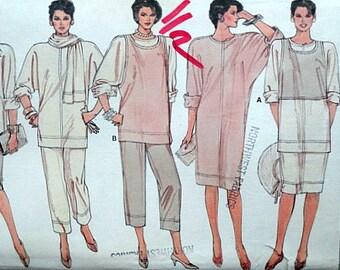 Vintage 80's Vogue 9026 Sewing Pattern, Misses' Dress, Tunic, Skirt, Pants, Vest And Scarf, Sizes 8-10-12, Uncut, 1980's Fashion
