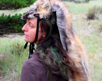 Fox headdress - full hide wild cross fox headdress totem dance costume for shamanic ritual and dance