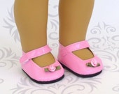 Pink Doll Shoes with Ribbon Rosebud, Mary Jane Shoes fits American Girl Doll