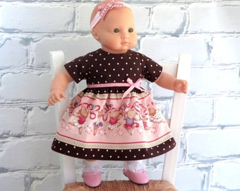 Bitty Baby Clothes Ballerina Dress and Matching Headband, 15 Inch Doll Clothes, AG Bitty Twin Pink Brown Dress