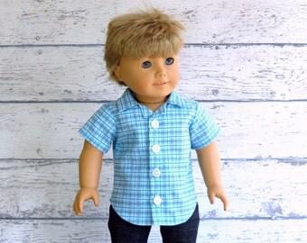 American Boy Doll Clothes Blue Plaid Button Up Shirt, 18 inch Doll Clothes Easter Shirt, Boy Doll Shirt