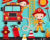 Fire fighter Boys Clipart. Cute fireman, fire truck, hose, fire extinguisher, fire rescue emblem, fireman helmet, african american graphics