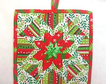 Quilted Folded Star Potholders,  Holiday Potholder, Christmas Potholder, Trivet,, Quiltsy Handmade