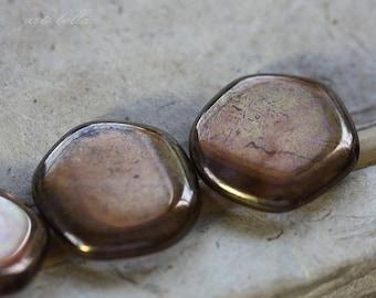 BRONZE PLUM COINS .. 4 Picasso Czech Glass Coin Beads 19x3mm (3721-4)