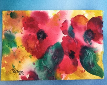 Red Posies an Original Watercolor Painting 5x7 inch