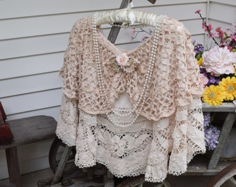 Bridal Cape Mother of Bride Shawl Evening Cape Lace Shawl Tea Stained Layered  made from Fine Vintage Laces Fancy Shawl Lace Cape Shabby