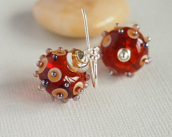 Golden Amber Lampwork Earrings, Artisan lampwork, Glass Bead, Sterling Silver - WILD HONEY