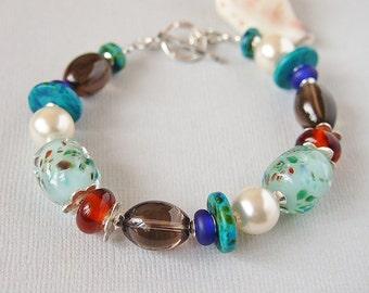 Colourful Bracelet, Turquoise,Artisan Lampwork, Beaded Bracelet, Smoky Quartz, Swarovski, Pearls, Greek Ceramic, Sterling Silver - BIJOUX
