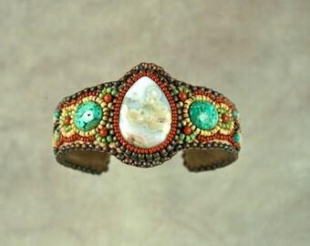 Bracelet, Cuff,  Ocean jasper, Chrysocolla,  Bead Embroidered Cuff Bracelet