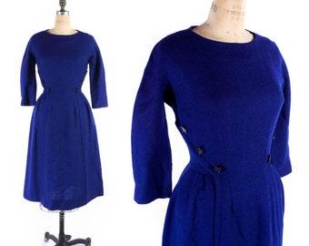 Vintage 50s Dress // 1950s Dress // Blue Button Dress // Woven Wool Acrylic Dress // Unique Button Dress - sz M - 28 Inch Waist