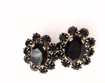 Vintage 1940s Clip On Earrings 40s Jet Black Rhinestones Miriam Haskell Style Unsigned Brass Findings Costume Jewelry Clip On Earrings