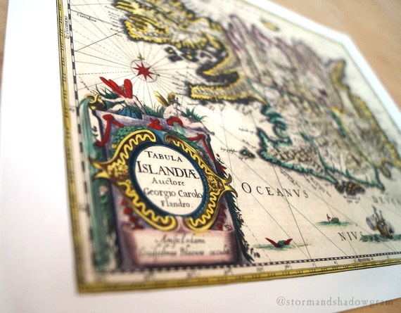 "Iceland Antique Map Print on eco bamboo paper made in Canada 11"" x 17"" & 8.5"" x 11"" latin history world island Reykjavík Norse Scandinavian"