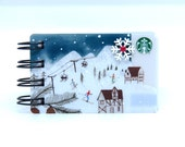 STARBUCKS HOLIDAY CHRISTMAS Upcycled Gift Card Spiral Notebook Notepad