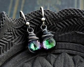 Topaz Earrings, Drop Earrings, Dangle Earrings, Wire Wrapped, Gemstone Earrings, Mystic Topaz, Sterling Silver, aurora borealis, PoleStar