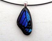 Butterfly Wing Fused Glass Pendant Necklace Mini Dark Blue