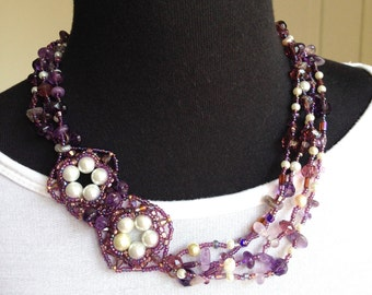 Women beaded jewelry necklace, purple handmade necklace, multi strand purple necklace,  statement one of a kind necklace