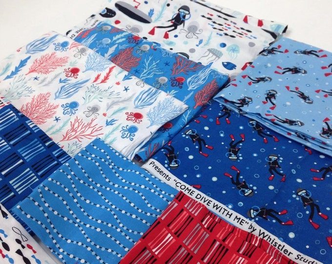 Come Dive with Me by Whistler Studios for Windham - cotton quilting fabric - half yard bundle of 15