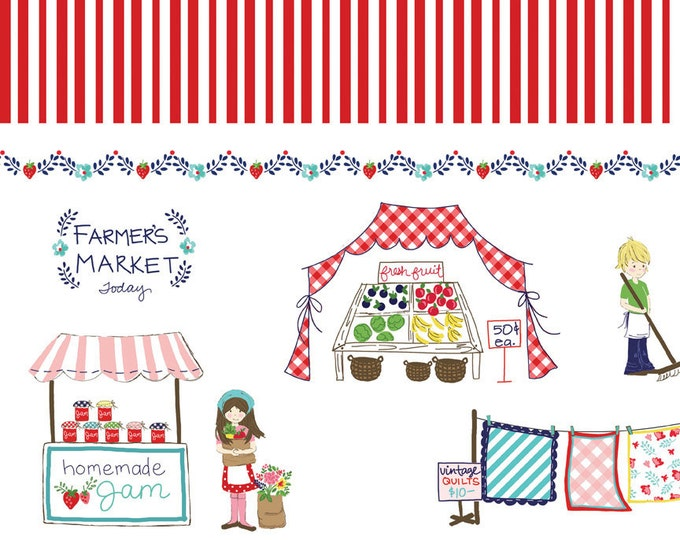 Vintage Market Riley Blake cotton fabric - Vintage Border VM4562 Red, select a length