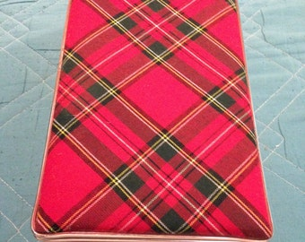 Vintage Japan Retro Girl Tartan Red Plaid Storage Case Bag