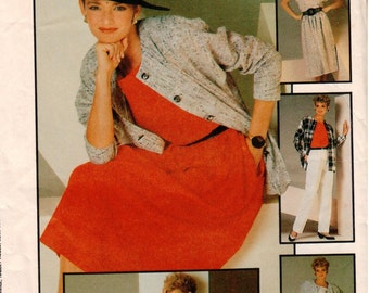 Vintage UNCUT Simplicity Pattern 6744 - Misses Go-Everywhere Easy-to-Sew Pants, Skirt, Unlined Jacket and Top - Size 14